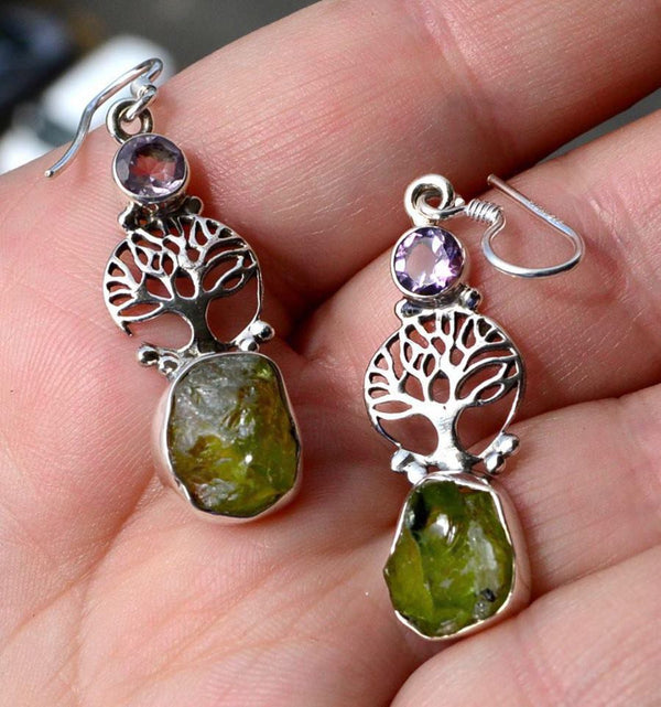 Sterling silver Tree of Life earrings with rough Peridot & faceted Amethyst