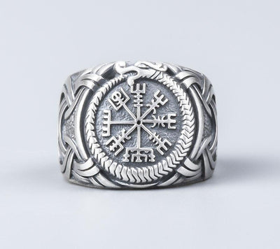Set Viking Bracelet Hugin & Bague Vegvisir vue de face de la bague