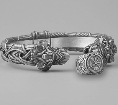 Set Viking Bracelet Fenrir & Bague Vegvisir vue du set