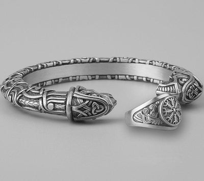 Set Viking Bracelet Hugin & Bague Helm of Awe vue du set