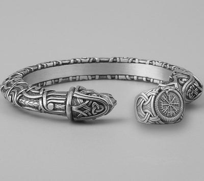 Set Viking Bracelet Hugin & Bague Vegvisir vue du set