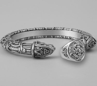 Set Viking Bracelet Hugin & Bague Odin vue du set