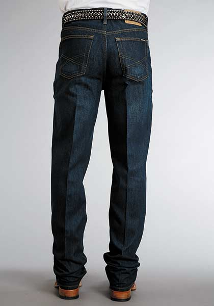 Stetson Mens Blue Cotton Blend Dark Rinse Standard Straight Leg Jeans Style 11-004-1520-0020