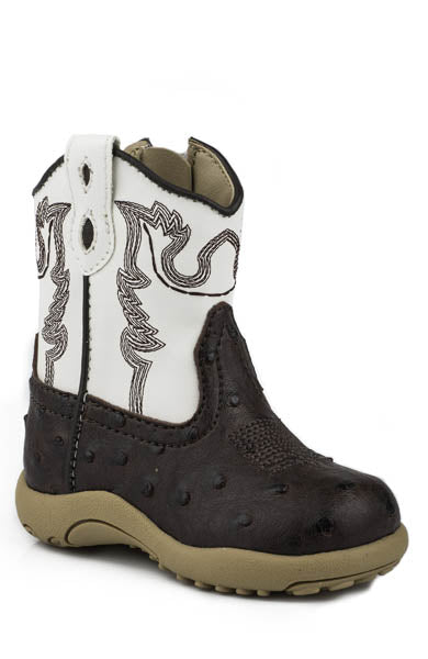 Roper Newborn Boys Boots Brown Faux Leather Ostrich Zip Cowbabies Style 09-016-1900-0049
