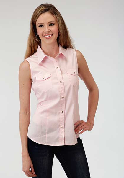 Roper Ladies Sleeveless Poplin Shirt Style 03-052-0265-0066