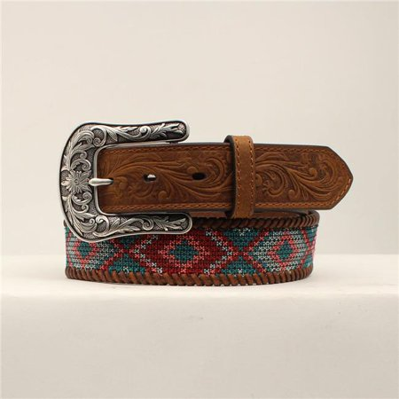Ariat Designed Fabric Brown Laced Edges Ladies Multi Color Belt Style A1530497