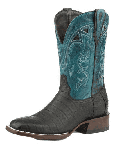 "STETSON WOMEN'S LOVINGTON BLACK CAIMAN VAMP TURQUOISE 11""SHAFT COWBOY BOOT STYLE 12-021-1852-0700"