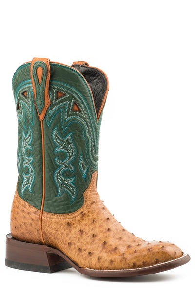 Stetson Womens Tan/Green Ostrich Libby Cowboy Boots Style 12-021-1852-0800