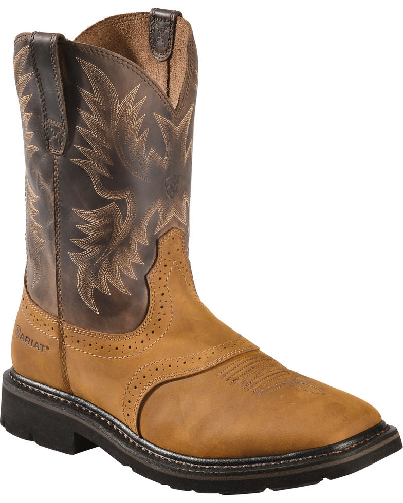 4f81cc32bc1 Ariat Sierra Pull-On Western Square Toe Work Boots Style 10010148 - 7D