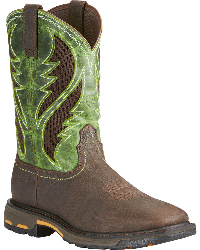 Ariat Men's Brown Workhog VentTek Square Toe Work Boots Style 10020083