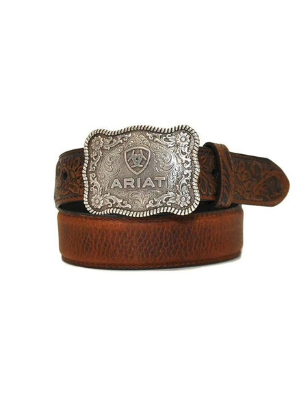 M & F Products Ariat Boys Shield Logo Distressed Hand Tooled Leather Belt Style A1301002