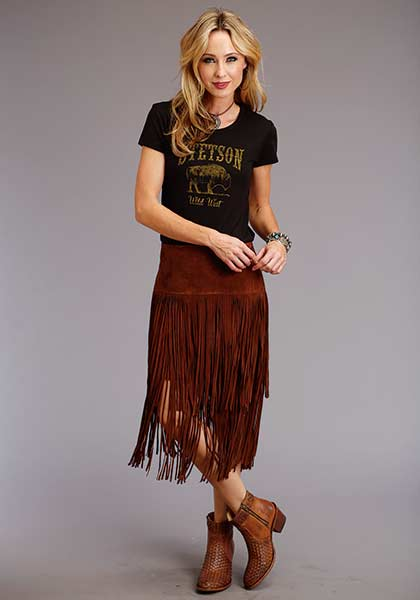 Stetson Ladies Fringed Suede Skirt Style 11-060-0539-7031