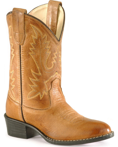 Old West Youth Girls' Corona Calfskin Cowboy Round Toe Boots Style 1129Y