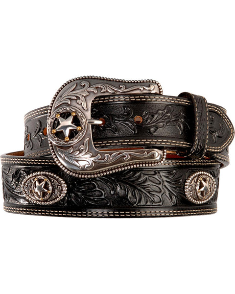 Leegin Justin Men's Black Silver Stars Embossed Belt Style c12423