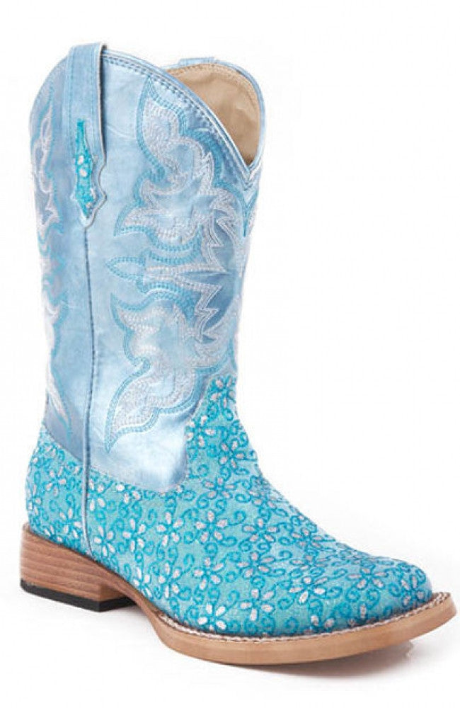 Roper Children's Turquoise Floral Bling Square Toe Boots Style 09-018-1901-0027