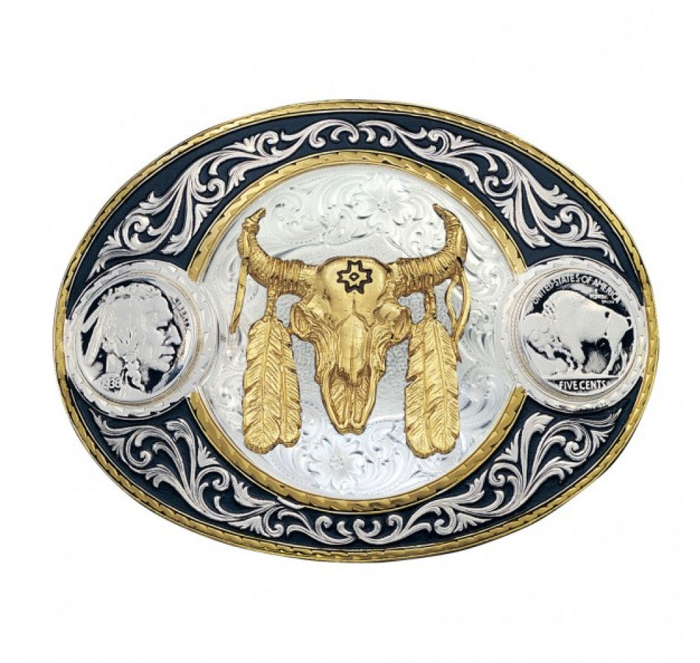 Montana Silversmith Buffalo Skull With Feathers Buckle Style 4050-447-BK
