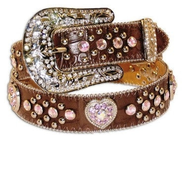 M&F Western Girls Gator-print Brown Belt with Heart Concho and Rhinestones Style N4425202