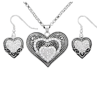 Montana Silversmith OUR PRAIRIE MOTHERS HEART JEWELRY SET Style JS1319CZ