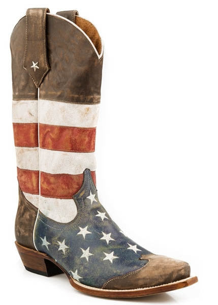 Roper Mens Distressed American Flag Snip Toe Boots Style 09-020-7001-0101-BR