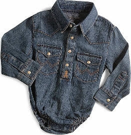 Wrangler All Around Baby Denim Long Sleeve Western Onesie Style PQ4165D