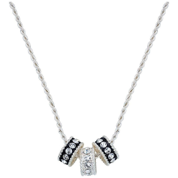 Montana Silversmith Three Crystal and Black Rings Necklace Style NC1032