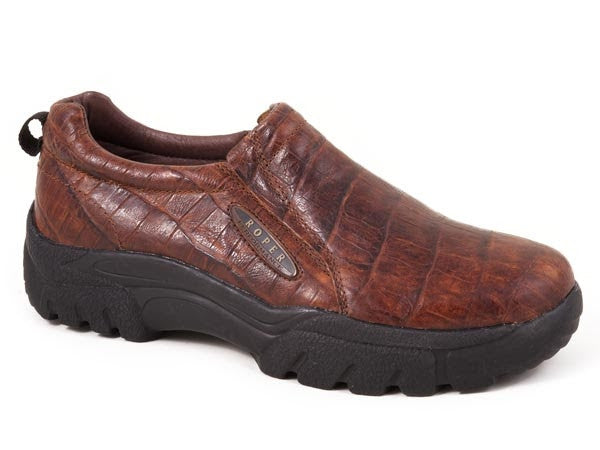 Mens Roper Brown Croco Print Slip On Performance Shoe Style 09-020-0601-0249