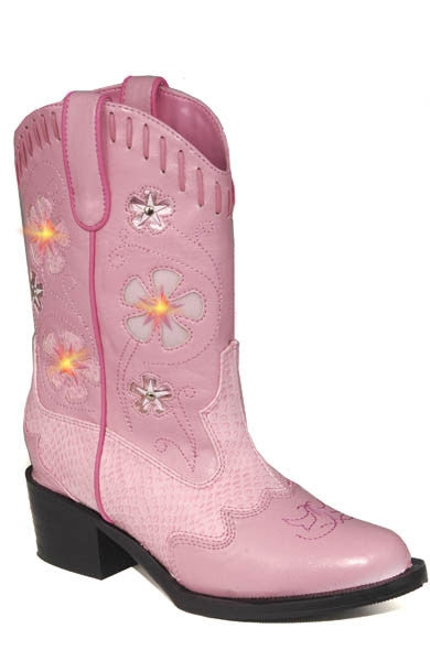 ROPER GIRLS FAUX LEATHER WESTERN LIGHTS PINK W/PINK SNAKE STYLE 09-018-1201-1202 PI