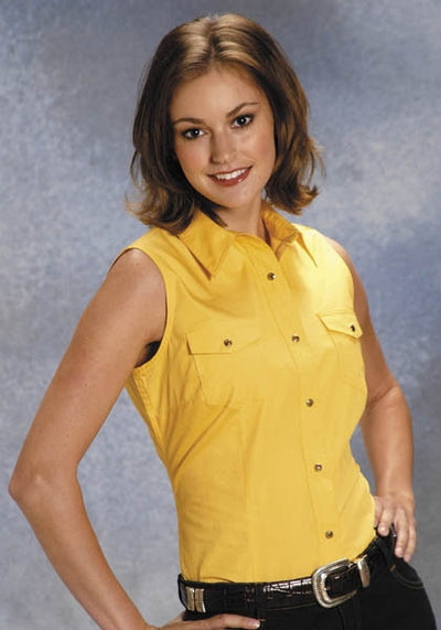 ROPER LADIES SLEEVELESS SHIRT SNAP AMARILLO SOLID COLOR STYLE 03-052-0265-0030