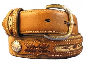 Nocona Childrens Conchos and Southwestern Distressed Brown Belt Style N4415844