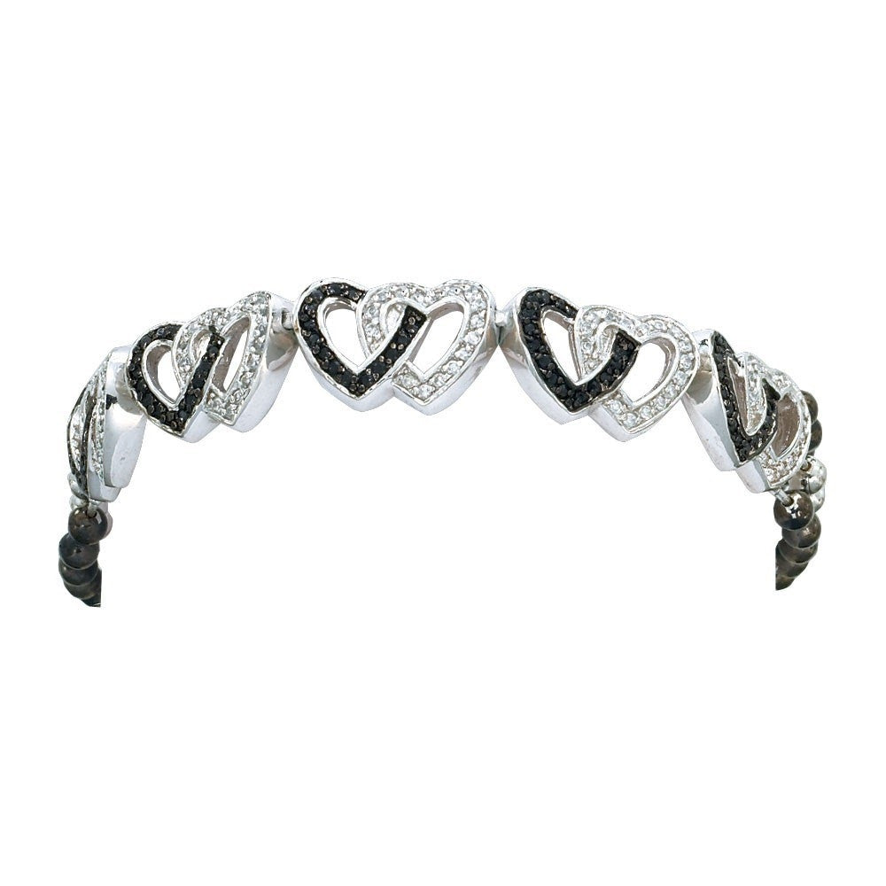 Montana Silversmith Crystal and Black Double Heart Link Bracelet Style BC61505BK