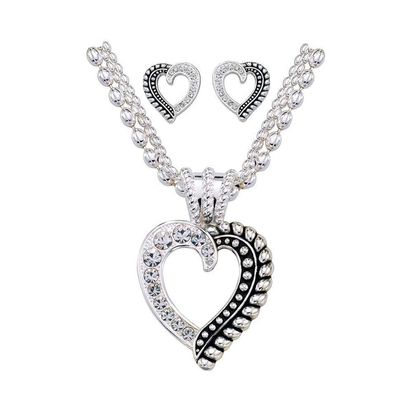Monana Silversmith TWISTED ROPE AND CRYSTALS HEART Style JS1041