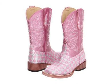 Roper Kids Boots Bling Square Toe w/ Pink Checkerboard Glitter Style 09-018-1901-0028