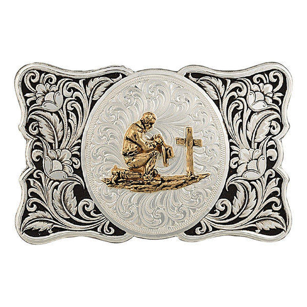 Montana Silversmith Two-Tone LeatherCut Gentleman's Cameo Buckle with Christian Cowboy Style 28500-