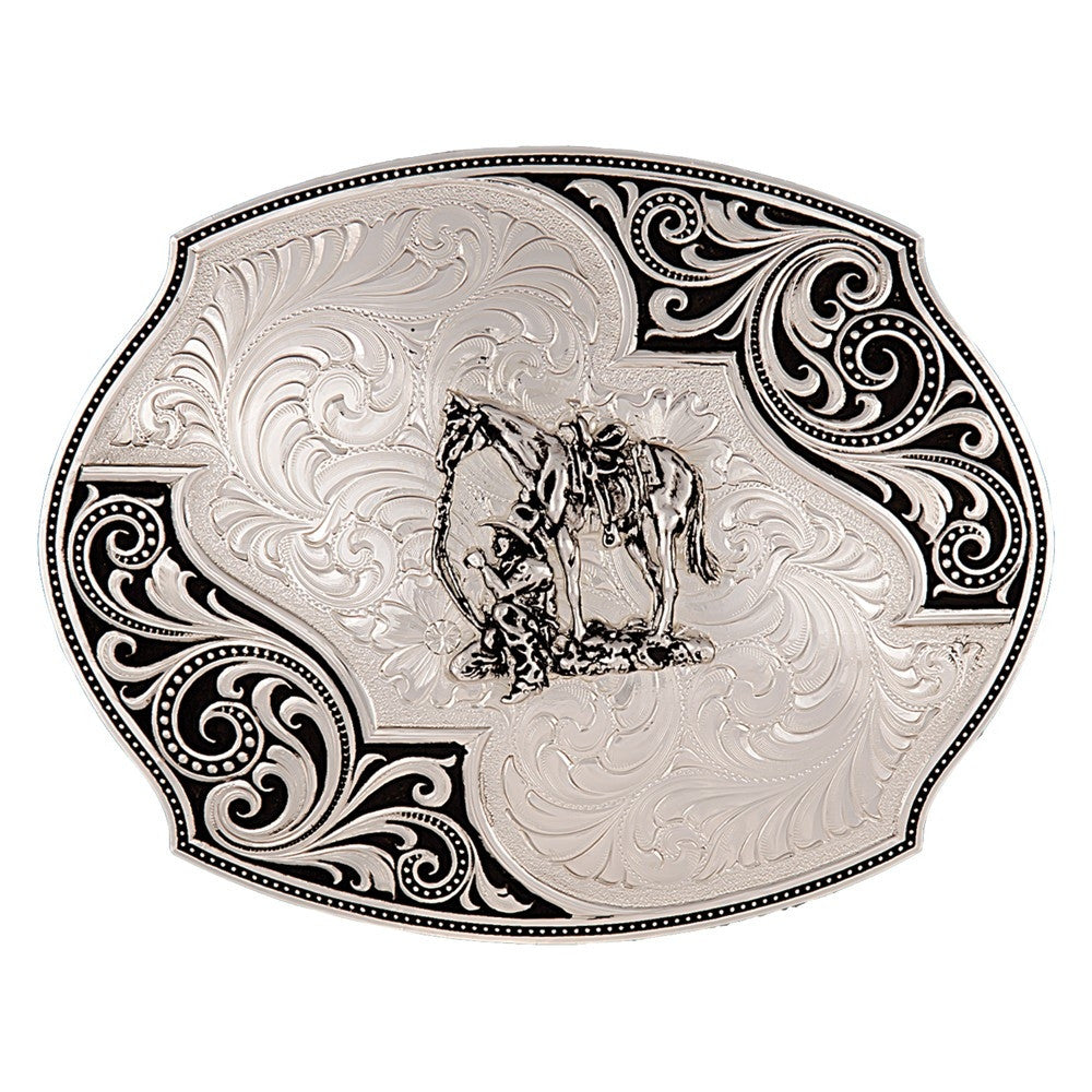 Montana Silversmith Western Lace Whisper Flourish Buckle with Cowboy and Horse Style 27310-456
