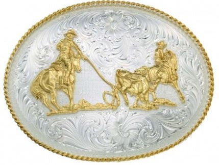 Montana Silversmith Large Silver Engraved Western Belt Buckle with Team Ropers Style 2130