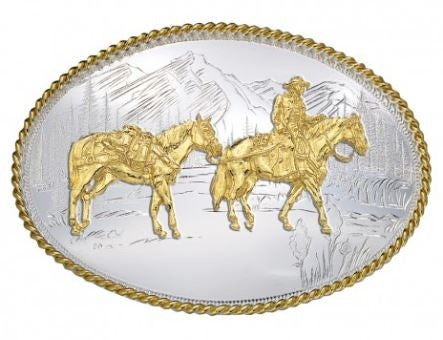 Montana Silversmith Etched Mountains Western Belt Buckle with Pack Horse and Rider Style 6250-35