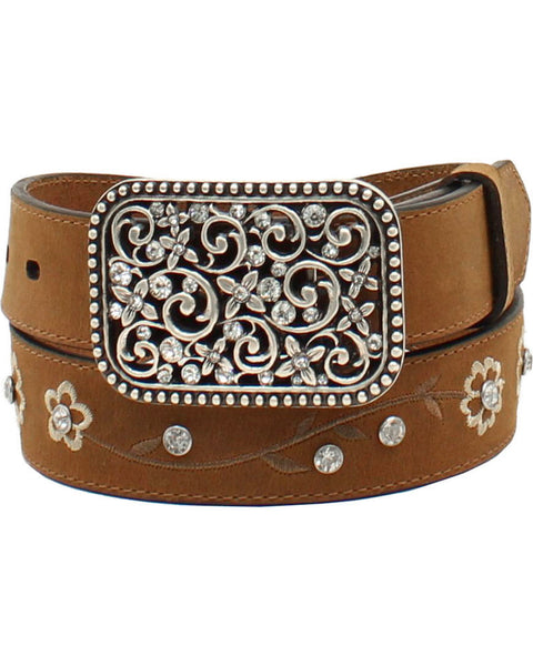 Ariat Girls Floral Embroidered Rhinestone Western Belt Style A1301644
