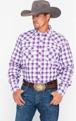 Wrangler 20X Mens' Purple Print Advanced Comfort Competition Long Sleeve Shirt Style MJC176M
