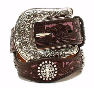 ARIAT GIRL'S FLORAL OVERLAY BROWN & PINK LEATHER BELT Style A1301802