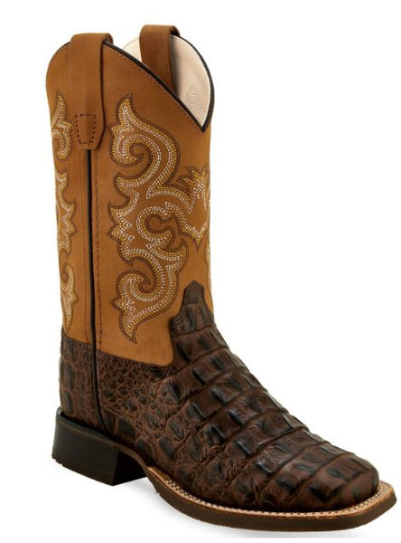Old West Boys' Gator Print Western Wide Square Toe Boots Style BSC1832