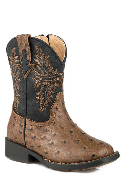 Roper Toddler Boys' Brown Ostrich Vamp Western Square Toe Boots Style 09-017-1224-2003