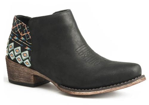 Roper Women's Black Sedona Aztec Heel Fashion Booties Snip Top Style 09-021-1567-2507