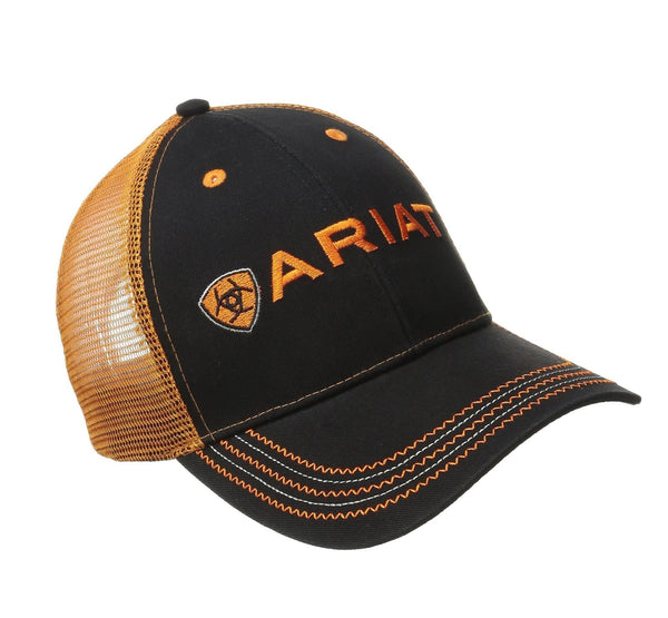 Ariat BOOTS Logo Black Orange Western Mesh Back Ball Cap Hat Style 15160276