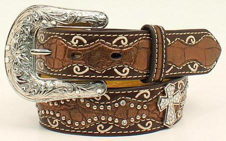 ARIAT GIRL'S BROWN CROC PRINT & CROSS LEATHER BELT Style A1302802