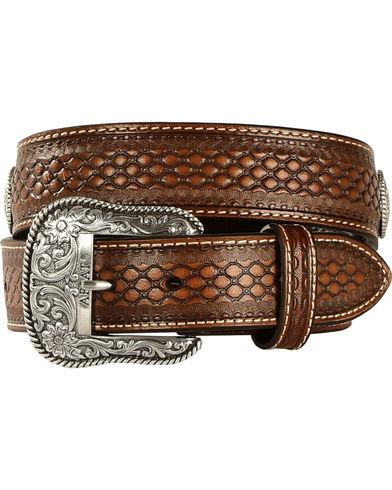 ARIAT MEN'S BROWN BASKET WEAVE LEATHER BELT Style A1013248