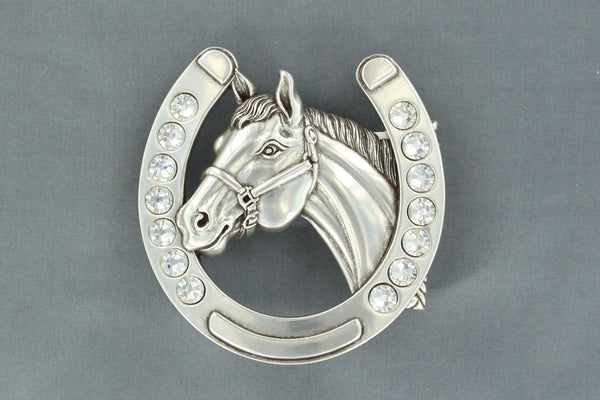 M & F Belt Buckle Horseshoe and Horsehead with Rhinestones Style 37028