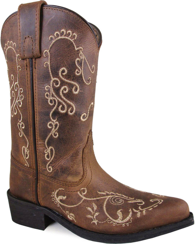 Smoky Mountain Girls' Brown Jolene Waxed Distressed Medium Toe Boots Style 3754
