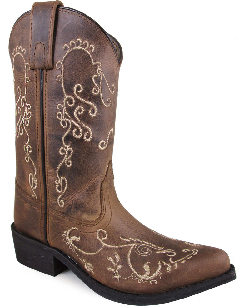 aeff26f5708 Smoky Mountain Youth Girls' Brown Jolene Distressed Western Pointed Toe  Boots Style 3754S - 9