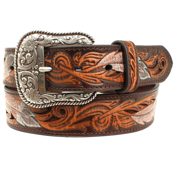 Ariat Western Mens Belt Leather Croc Turq Stone Concho Brown A1029802