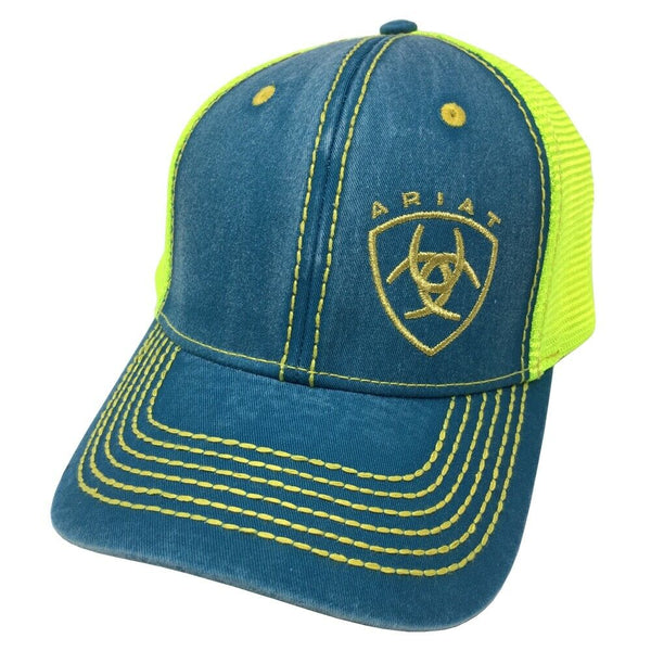 bb59fd435 Ariat Brand Shield Logo Turquoise and Neon Yellow Snapback Hat Style 1594733